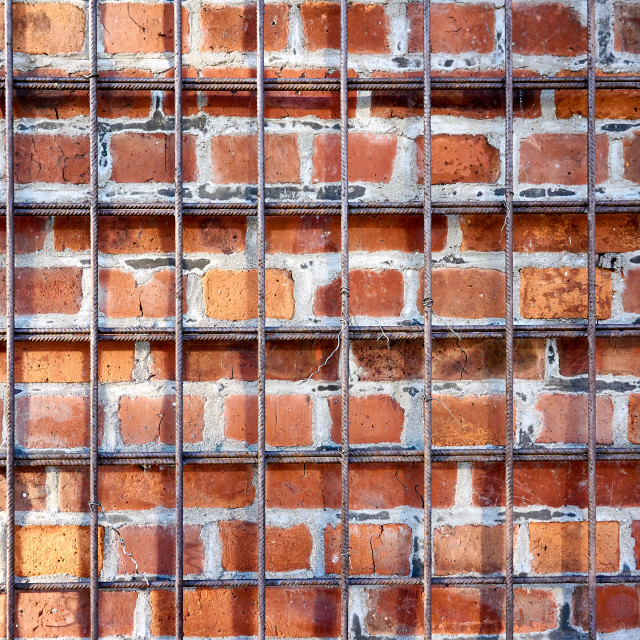 """old repaired wall with brick texture"" stock image"