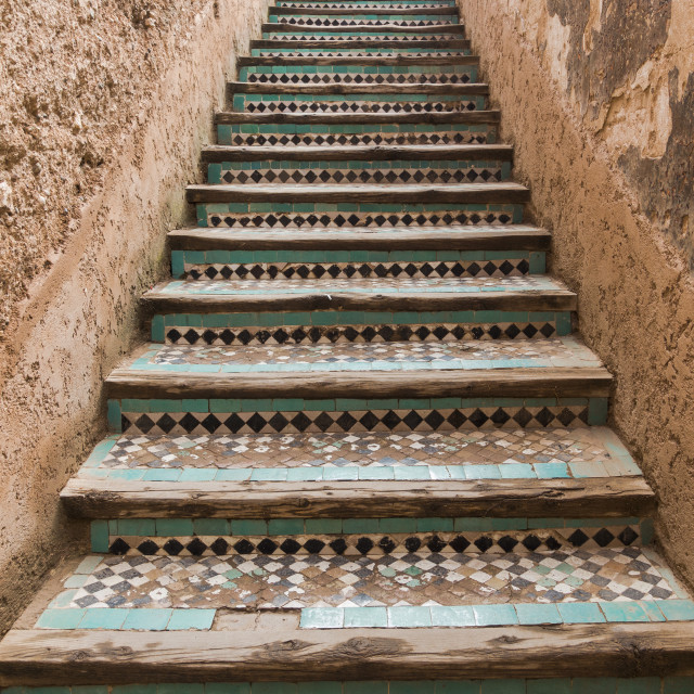 """""""Ancient Staircase with moroccan tiling"""" stock image"""