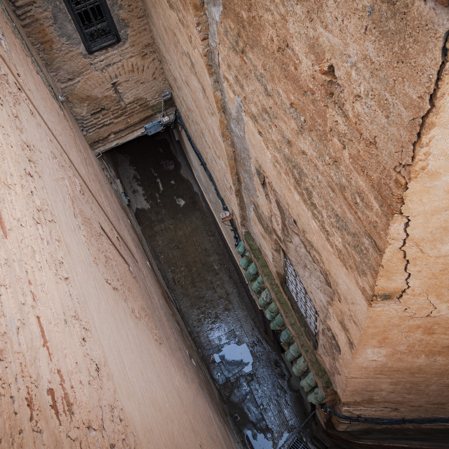 """""""Top view of a narrow street in Marrakech, Morocco, North Africa."""" stock image"""