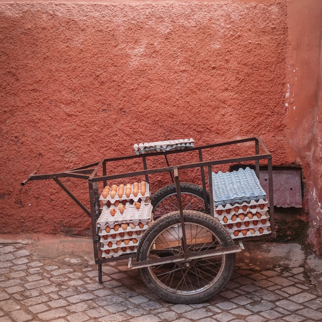 """""""Carrier with eggs against a red wall"""" stock image"""