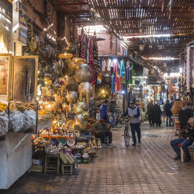"""Souk Marrakesh, food stall en textile stall"" stock image"