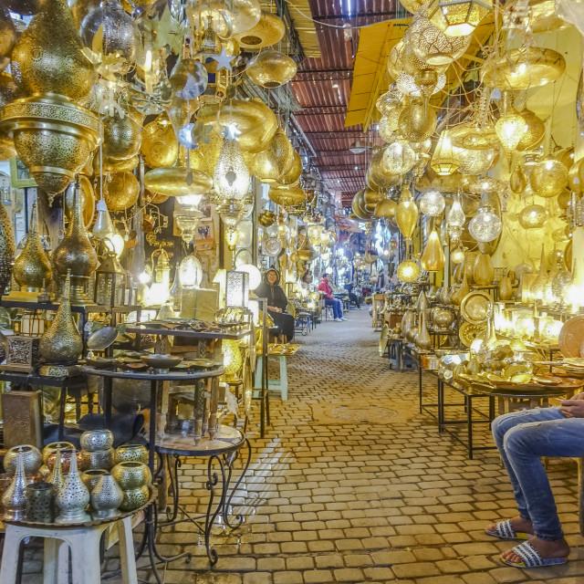 """Souk Marrakesh, Lanterns and lamps"" stock image"