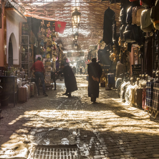 """Inside the Souk Marrakesh, the the Souk, Medina, Marrakech, Morocco."" stock image"