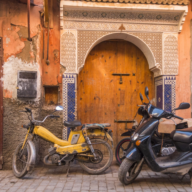 """""""Scooters parked in the Medina area of Marrakech, Morocco, Arfica."""" stock image"""