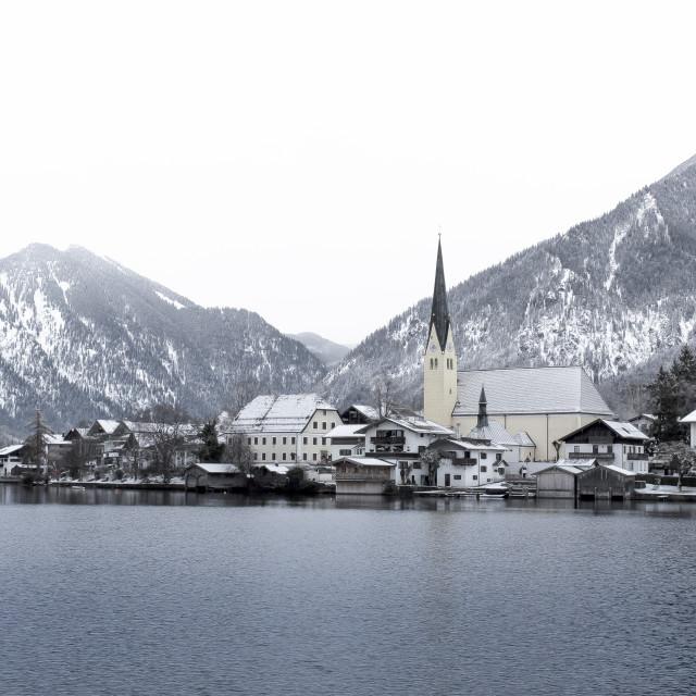 """""""Fresh snow at the lake"""" stock image"""