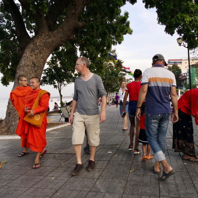 """Riverside, Phnom Penh"" stock image"