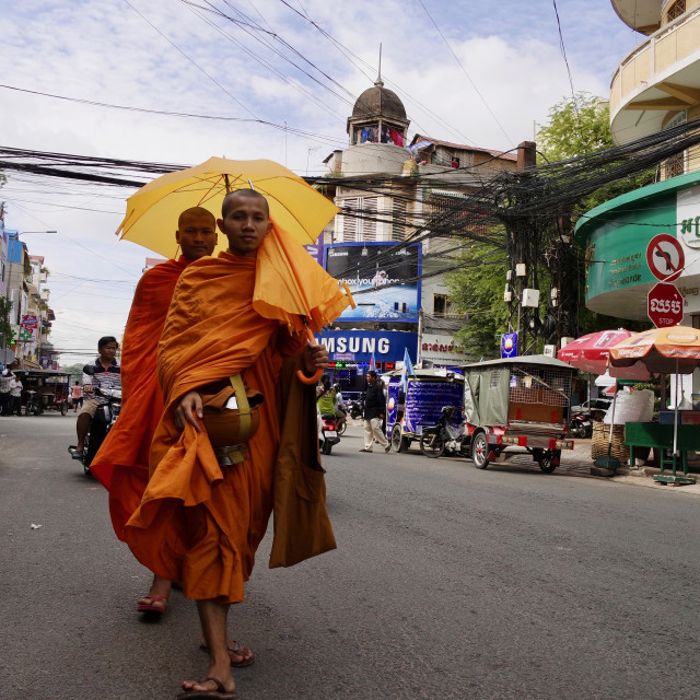 """Buddhist monks, Phnom penh"" stock image"