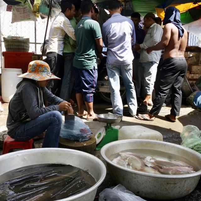 """""""Market scene, Phnom penh"""" stock image"""