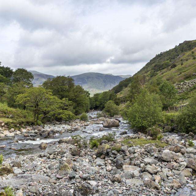 """Langstrath Beck, Stonethwaite, Lake Distict, Cumbria"" stock image"