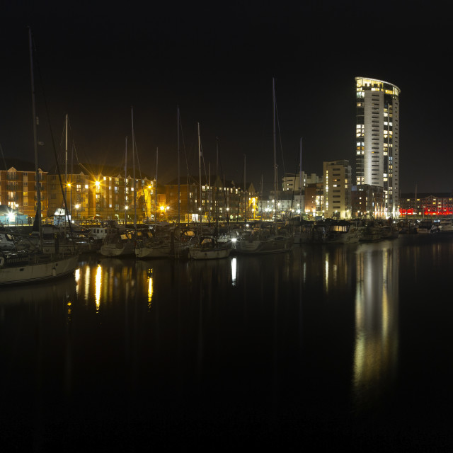 """""""Evening reflections in Swansea Marina"""" stock image"""