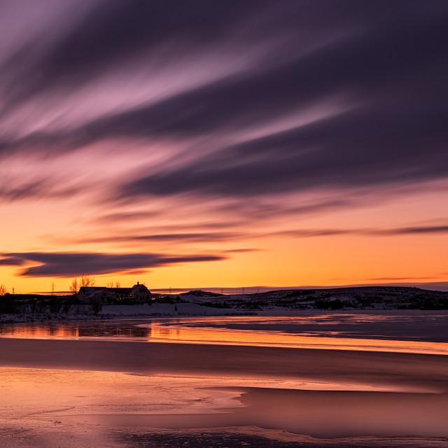"""""""Sunset in Heidmork lake, Iceland"""" stock image"""