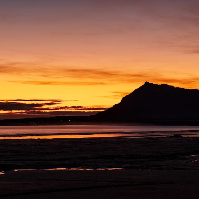 """Mountains at sunset, Iceland"" stock image"