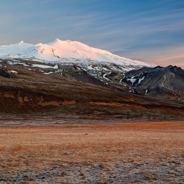 """""""Snaefellsjokull at sunset, Iceland"""" stock image"""