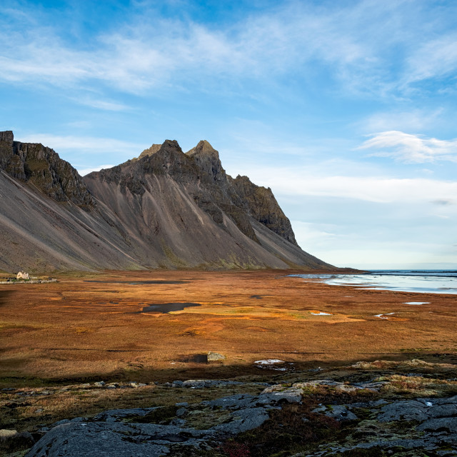 """""""Vestrahorn mountain and viking village in Iceland"""" stock image"""