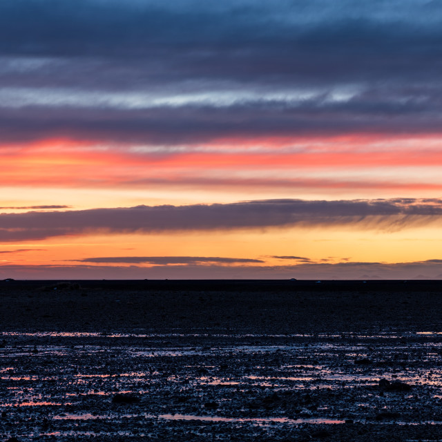 """Sunset in Solheimasandur, Iceland"" stock image"