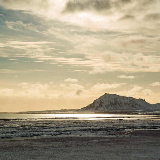 """""""Mountains with the sun reflected in the water, Iceland"""" stock image"""