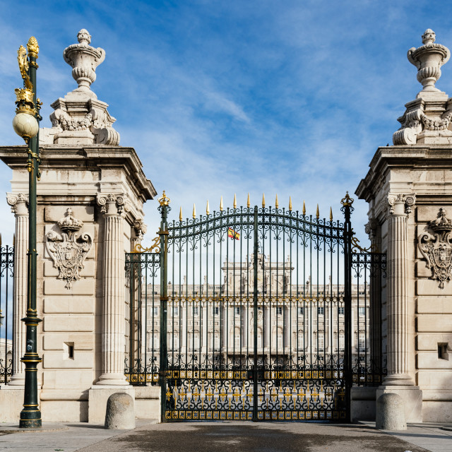 """Main gate to Square of Armeria in Royal Palace of Madrid"" stock image"