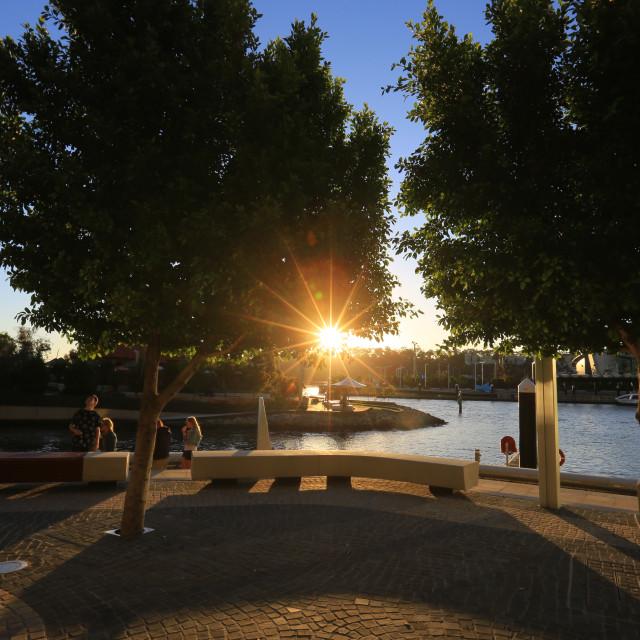 """sunset and urban landscape at Elizabeth quay Australia"" stock image"