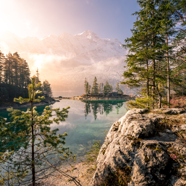 """Eibsee in Bavaria at sunrise"" stock image"