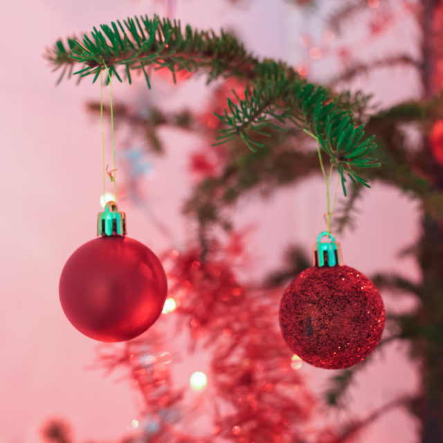 """""""Two Red Baubles"""" stock image"""