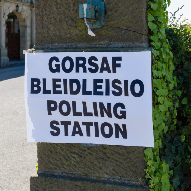 """""""Polling Station Wales"""" stock image"""