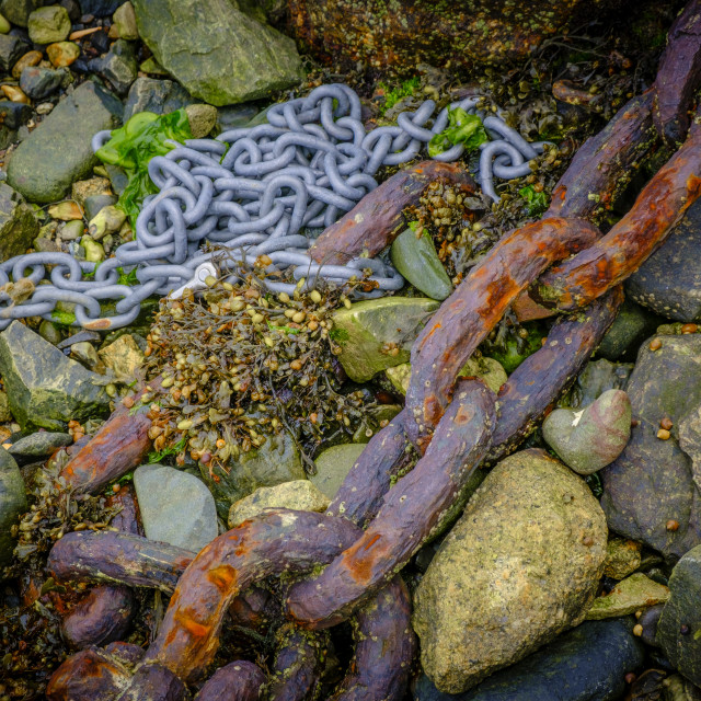 """""""Anchor Chain Mousehole Penzance Cornwall England"""" stock image"""