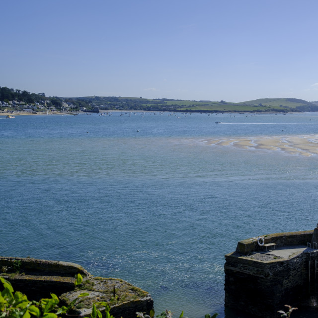 """""""View across Camel Estuary Padstow to Rock Padstow Plymouth Cornwall England"""" stock image"""