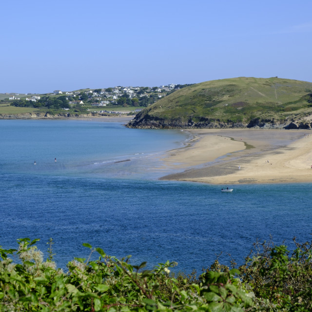 """""""View across Camel Estuary Padstow Plymouth Cornwall England"""" stock image"""