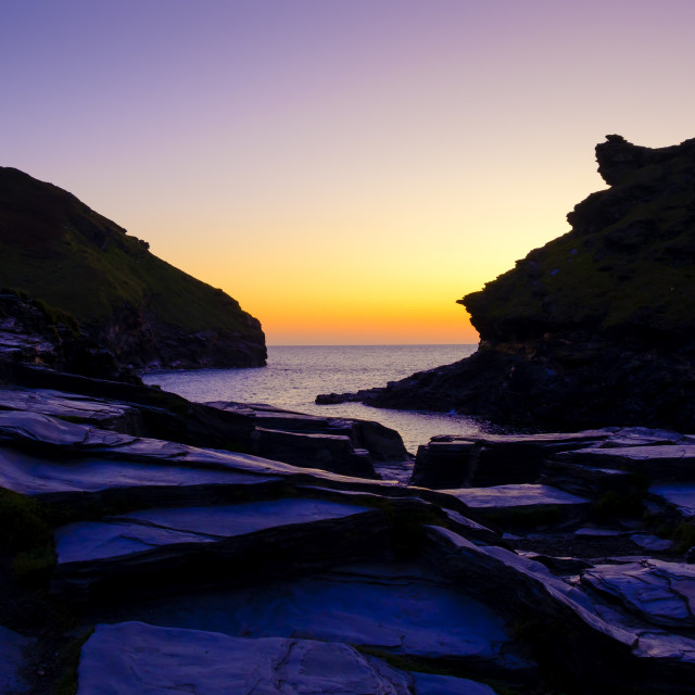 """""""The harbour at Boscastle Plymouth Cornwall England at sunset"""" stock image"""