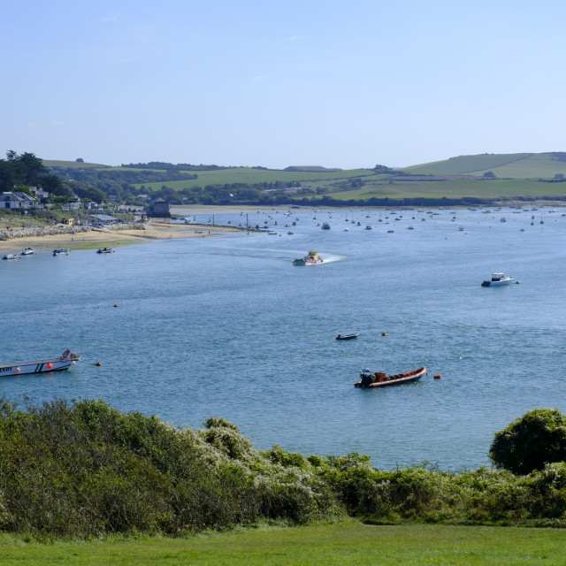 """""""View across Camel Estuary Padstow to Rock Plymouth Cornwall England"""" stock image"""