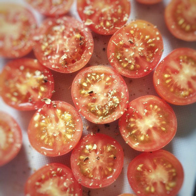 """""""Cooking Cherry Tomatoes"""" stock image"""