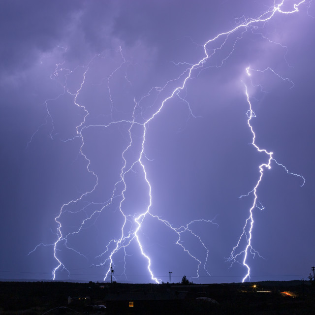 """Thunderstorm with bright lightning bolts"" stock image"
