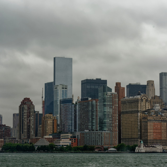 """Manhattan Skyline from the the water"" stock image"