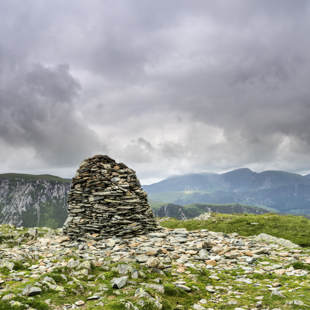 """""""The Summit Cairn of High Spy, Lake District, Cumbria, UK"""" stock image"""