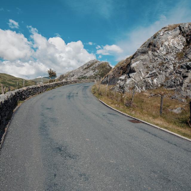 """Road in Snowdonia"" stock image"