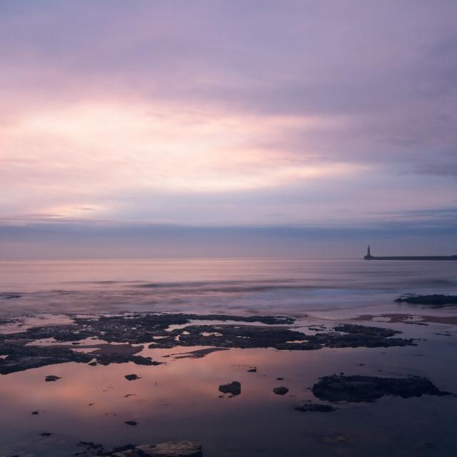 """""""Seaburn Coastal Dawn Seascape, Sunderland, UK"""" stock image"""