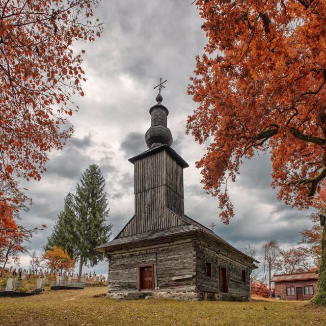 """Wooden church in Ioneşti"" stock image"