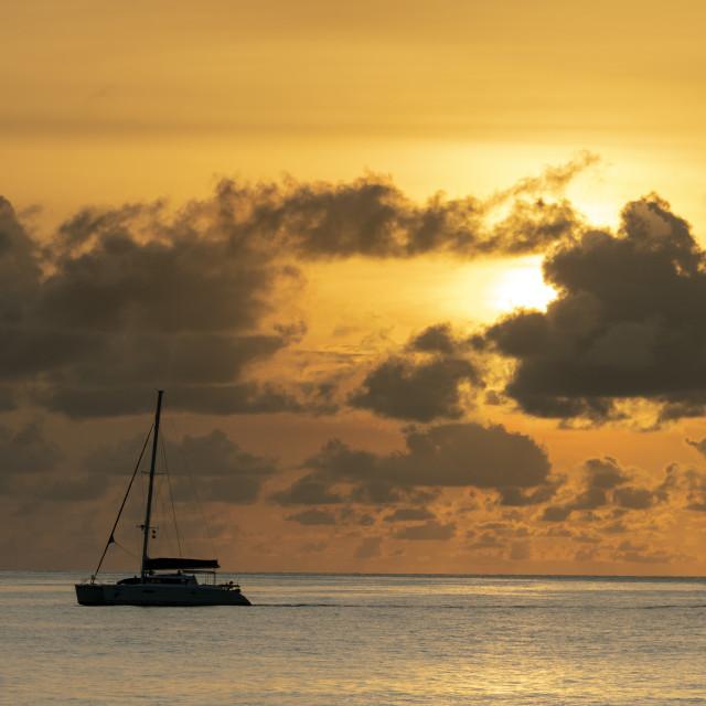 """""""Sunset sail"""" stock image"""