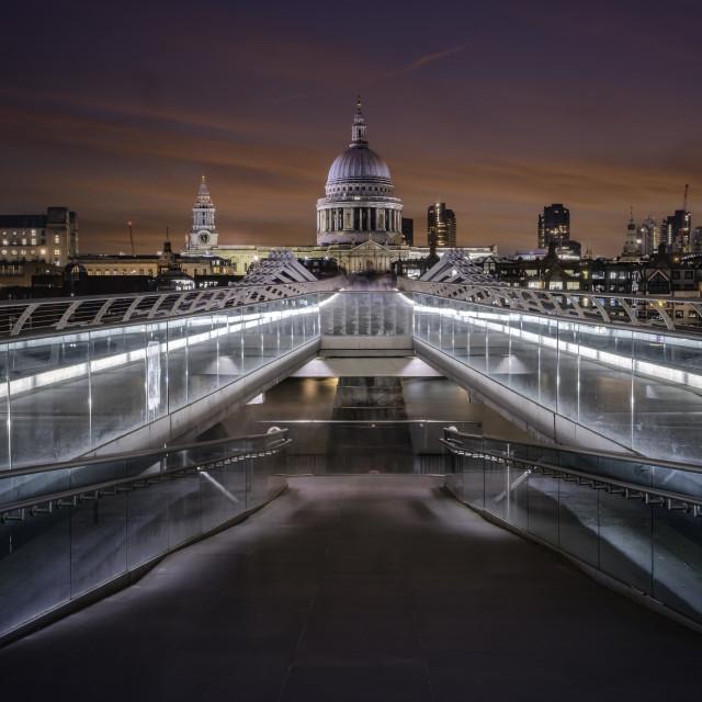 """The Millennium Bridge, Bankside, London"" stock image"