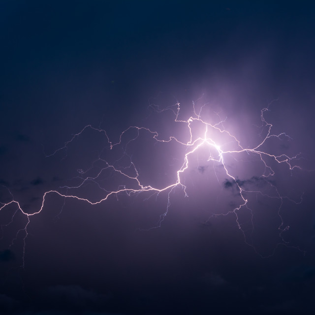 """Huge lightning in the skies of Brazil"" stock image"