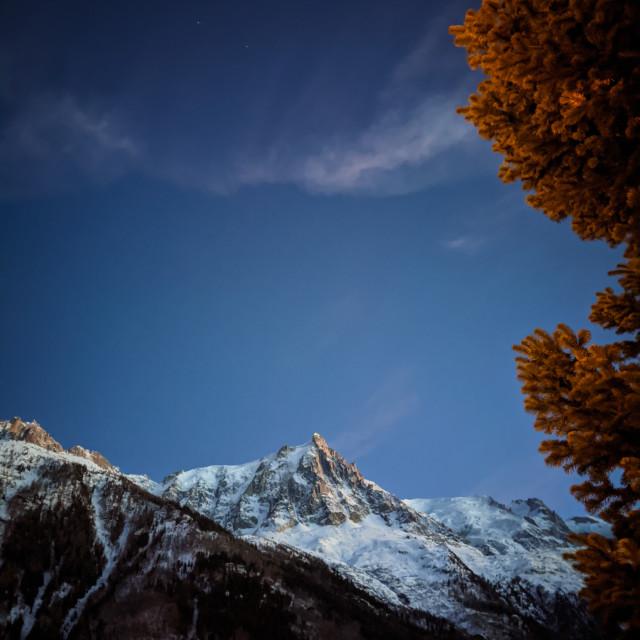 """""""Dusk on Aiguille du Midi"""" stock image"""