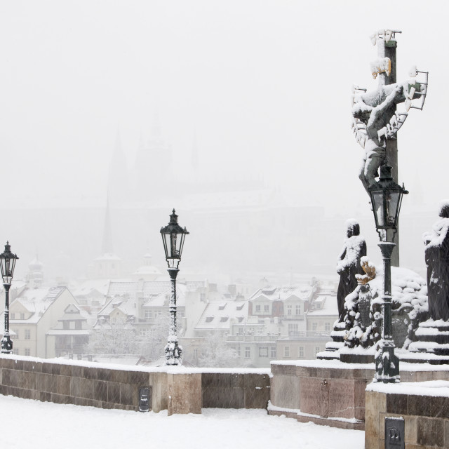 """Prague - Charles Bridge in winter"" stock image"