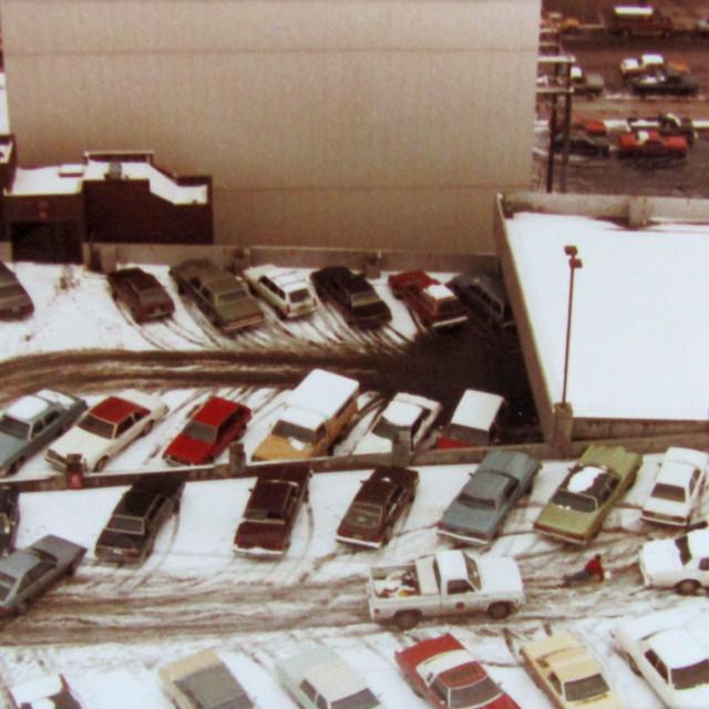 """Winter snow car parking"" stock image"