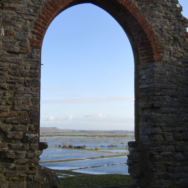 """Flooded Somerset Levels from Burrow Mump"" stock image"