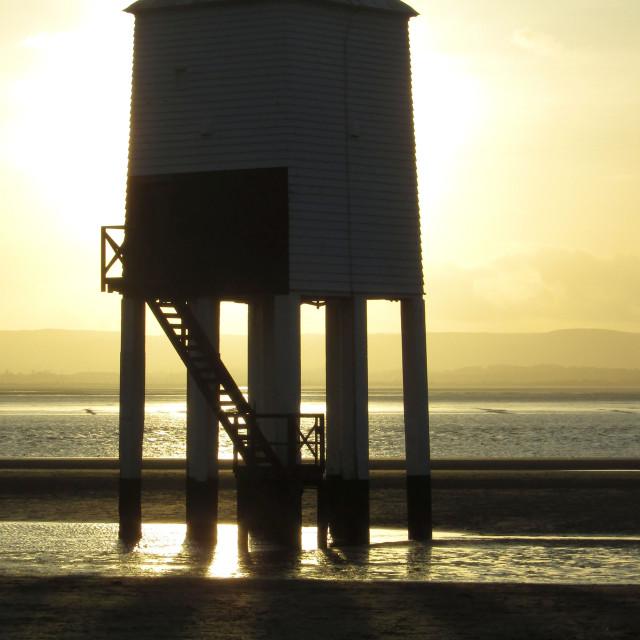 """Burnham-on-Sea Lighthouse at sunset"" stock image"