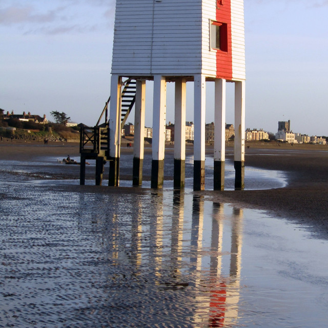"""Burnham-on-Sea Lighthouse reflection"" stock image"
