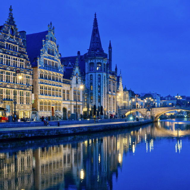 """Graslei and Korenlei, Ghent, Belgium"" stock image"