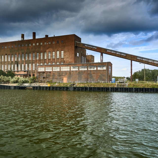 """coal powerstation in harbour of Pennemuende on island of Usedom"" stock image"