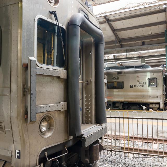 """New Jersey Transit Commuter Trains"" stock image"