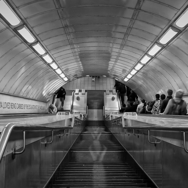 """London Tube Escalator"" stock image"
